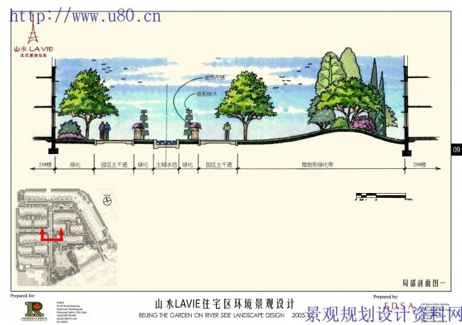 公园景观剖立面手绘图