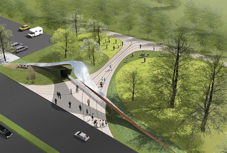 西安生态公园处于西咸新区。 项目包含公园的两个大门和生态餐厅,立足于保持设计的完整性和后续风格的兼容性。 考虑到景观与建筑的生态关系,我们将建筑和景观更多的融合在一起。由此,一种空间上的扭转和相互转化成为主要的设计语言。设计经过对构筑物融合性和标志性两方面的剖析,将场地信息和目标效益进行有机组织,使得设计本身游刃有余地在景观与建筑对话中来回转换,进而生发出在空间和功能上相互转化的复合产物,赋予场地以新的面貌。