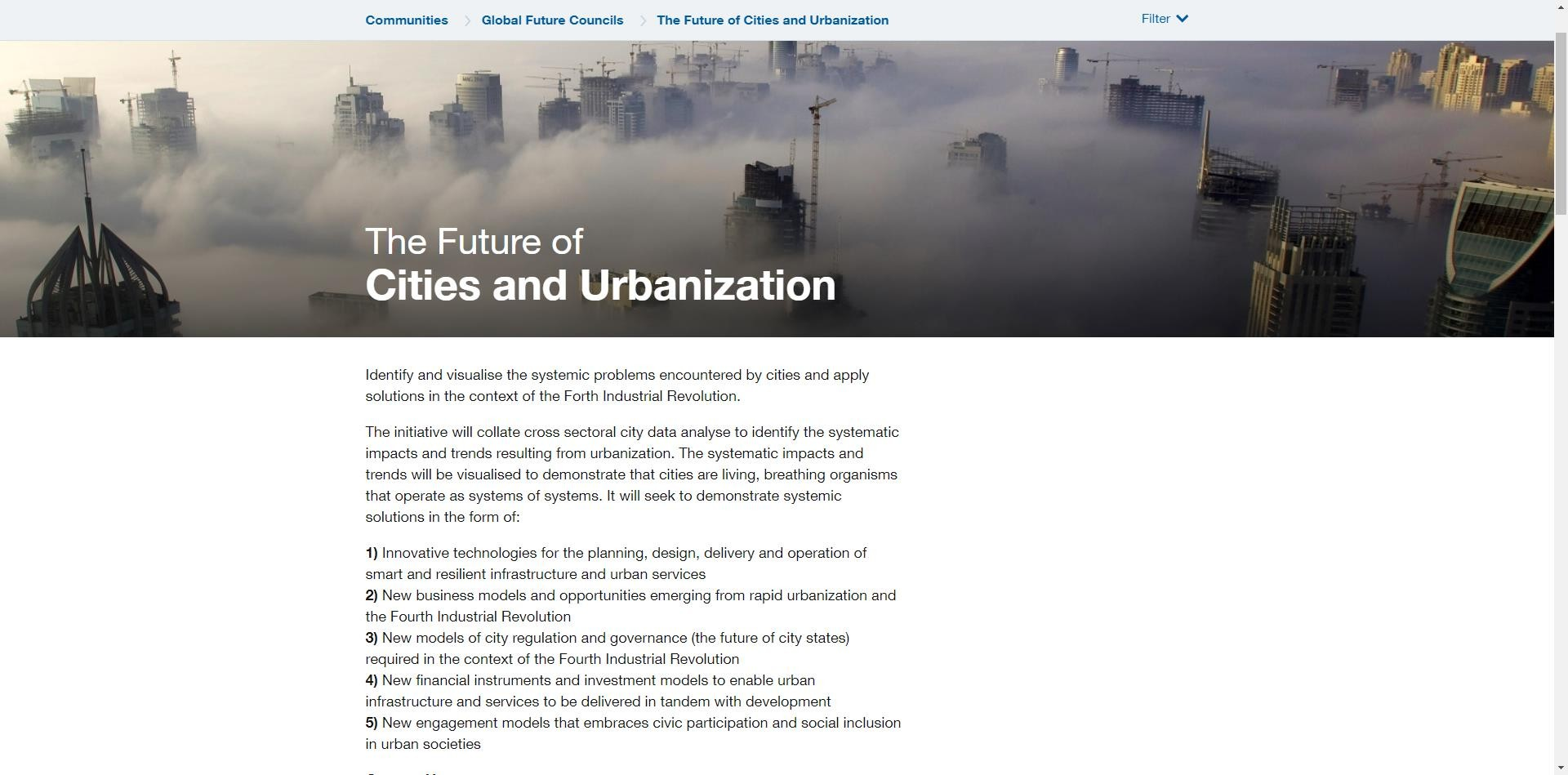 The future of cities and urbanization
