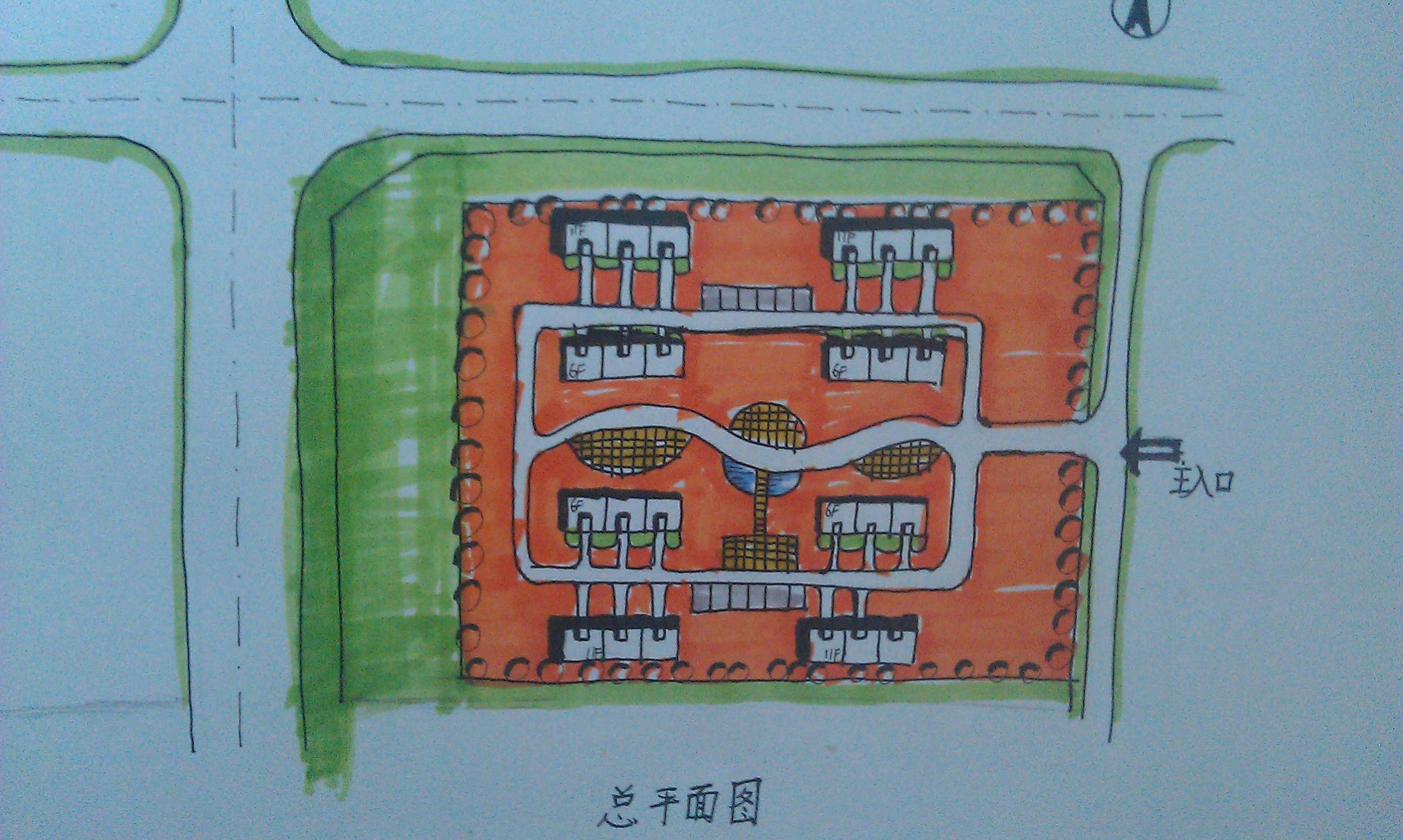 第一次画快题,居住组团设计图片