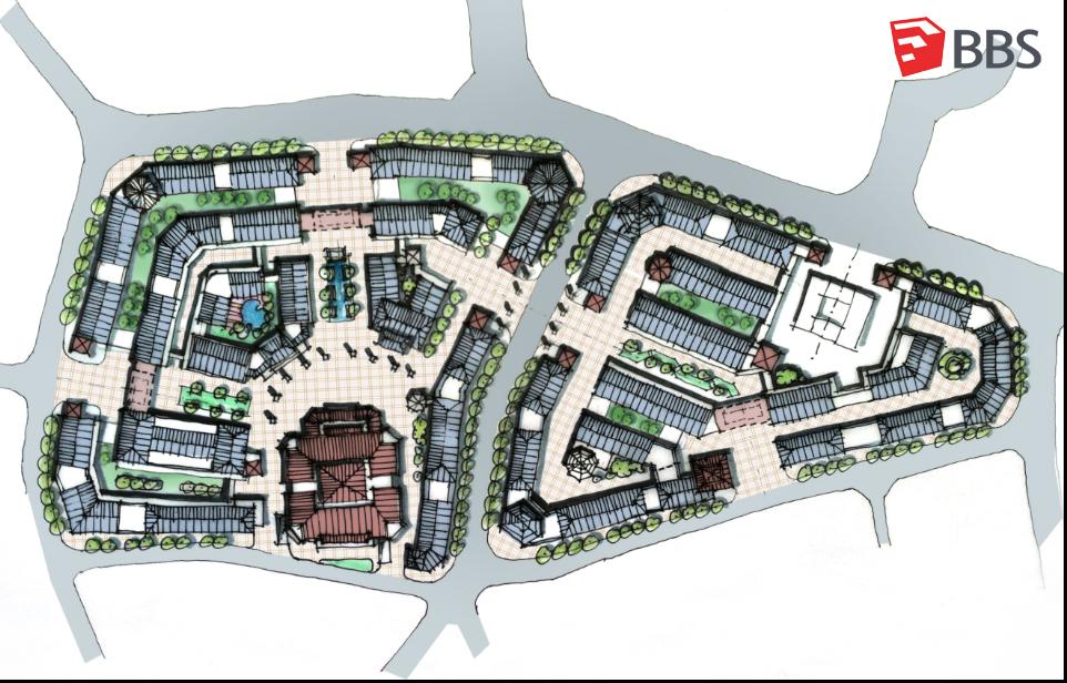 城市中心区步行街的设计手绘图分享展示