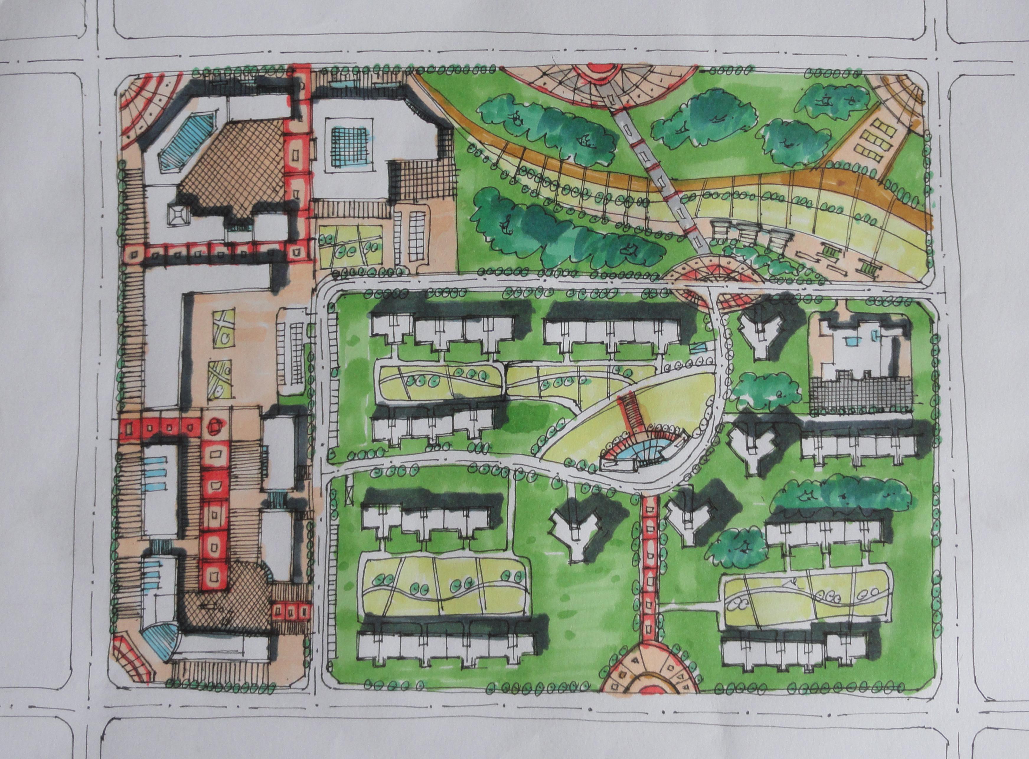 居住区公共空间快题设计分享展示图片