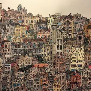 法国插画家Guillaume Corne绘制的大尺度超精细大都市风景