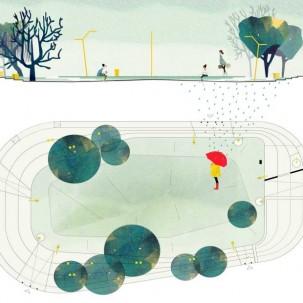 意大利绿地广场,总平面漫画风格