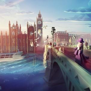三维插画家为阿提哈德航空公司创作的城市风景画